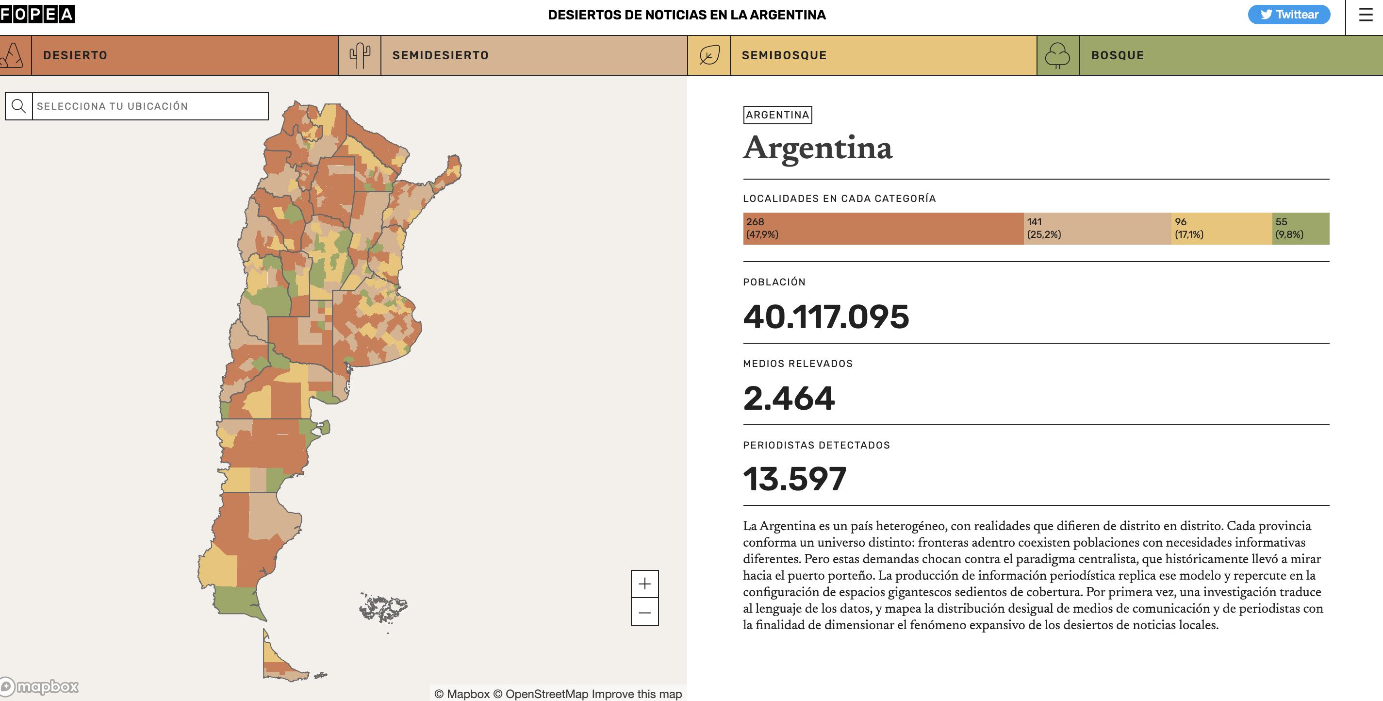 Desiertos informativos en Argentina: casi un 48 por ciento del país no cuenta con medios locales