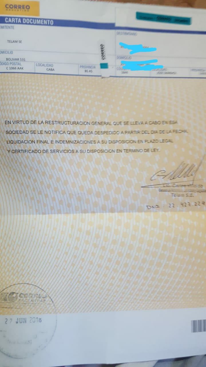 Telegrama de despido enviado a los trabajadores de la agencia Télam.