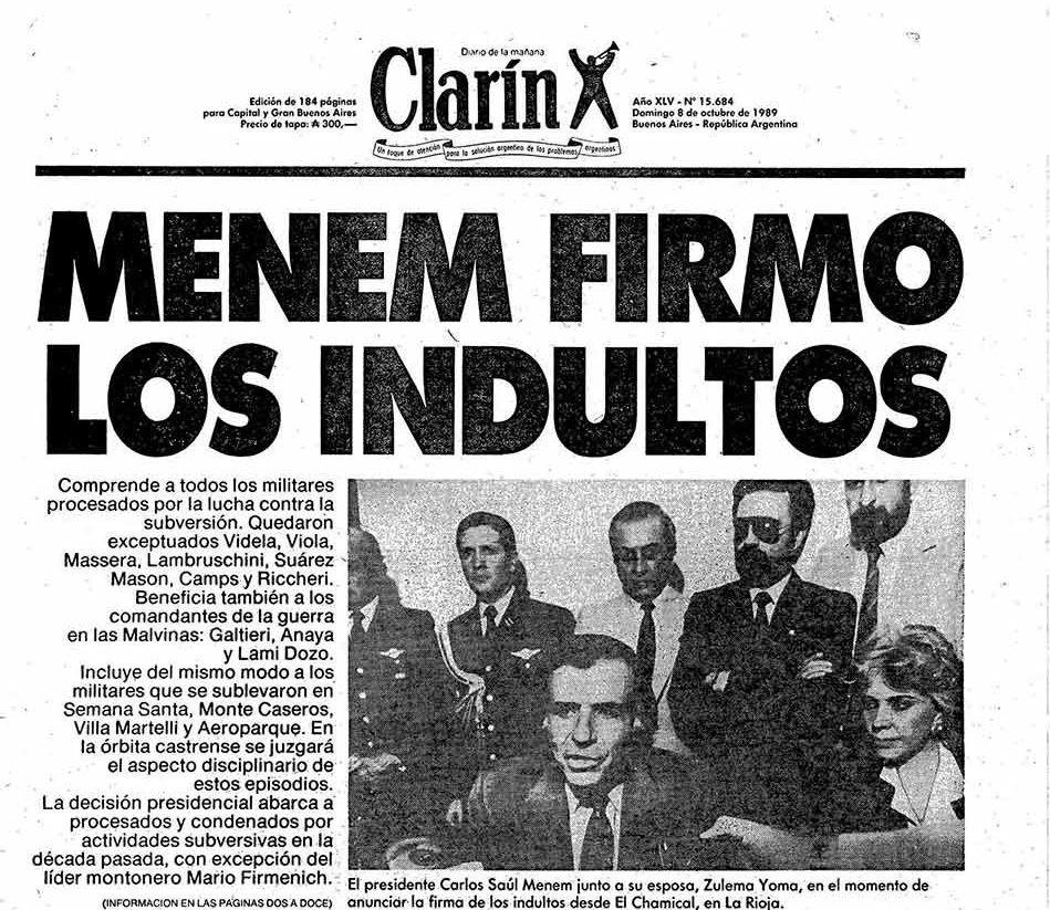El día que Menem decretó la impunidad