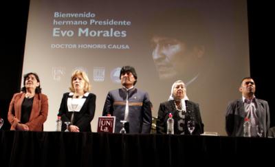 Evo Morales, honoris causa en el sur